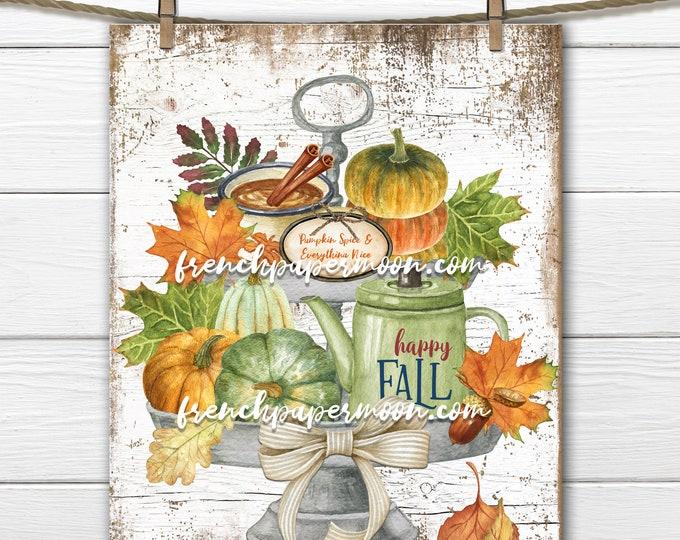 Fall Tiered Tray Print, Fall Favorites, Colorful Pumpkins, Farmhouse, Fall Essentials, Fall Sign, Home Decor, Fabric Transfer, Transparent