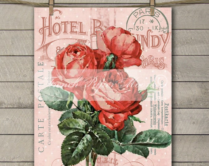 Vintage French Hotel Shabby Rose Printable, Victorian Rose Collage, French Graphics, Instant Download, transfer Graphic