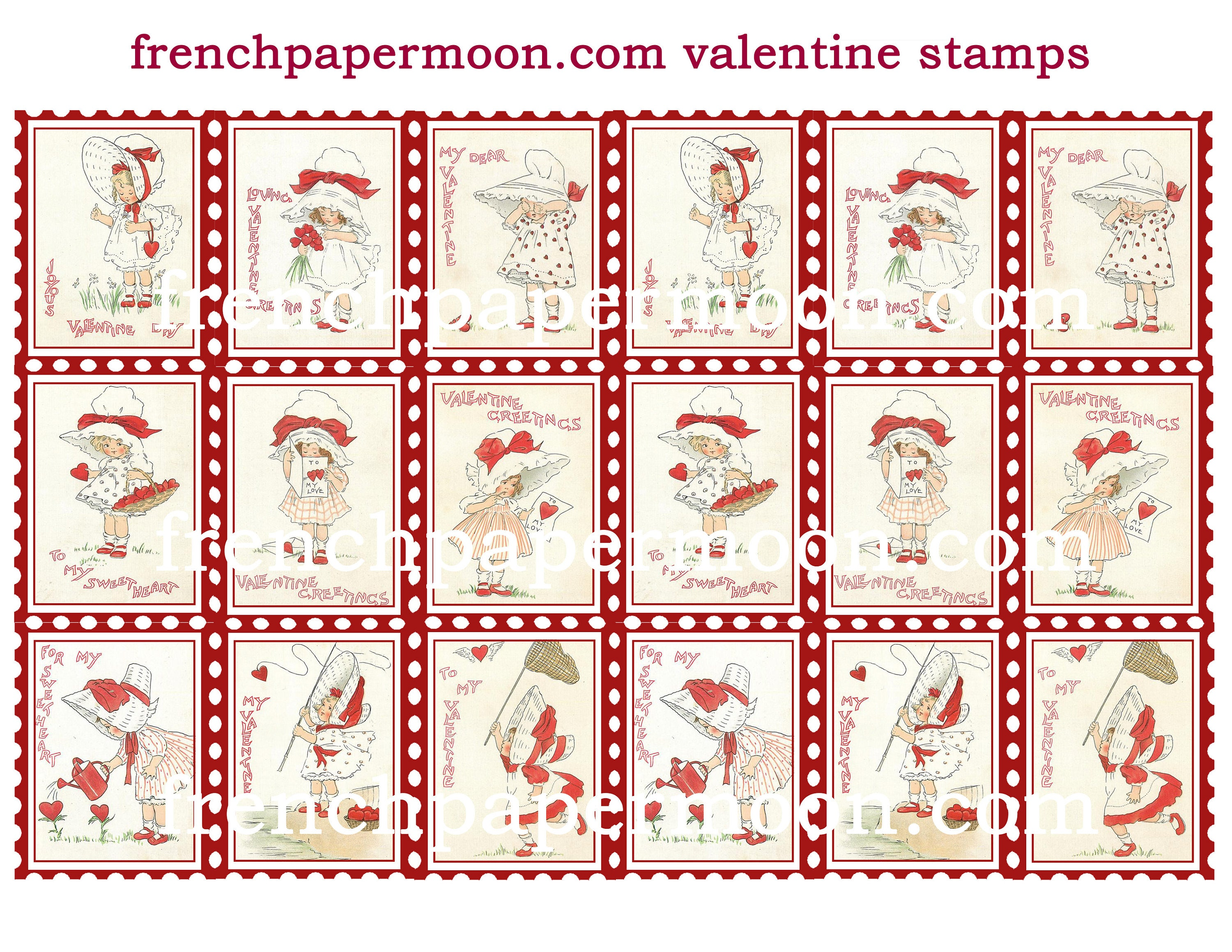 graphic relating to Printable Postage Stamps named Cute Valentine Printable ATC postal stamp collage sheets