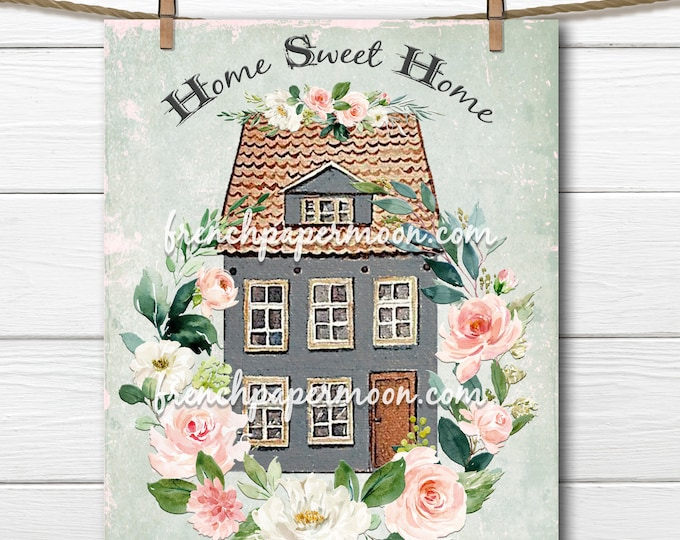 Sweet Shabby Cottage Graphic, Home Sweet Home Print, House-Warming, Flower Wreath, New Home Gift, Pillow Image, Sublimation, Fabric Transfer
