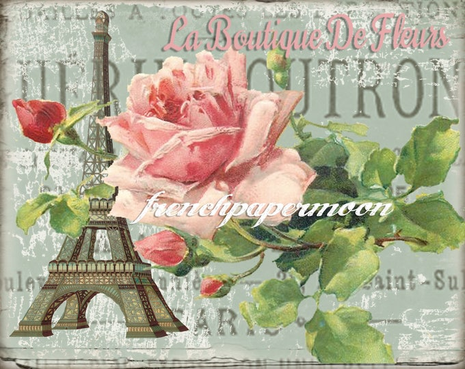 Digital Vintage French Postcard, Eiffel Tower, Shabby Roses, French Graphics, Fabric Transfer, Large Image
