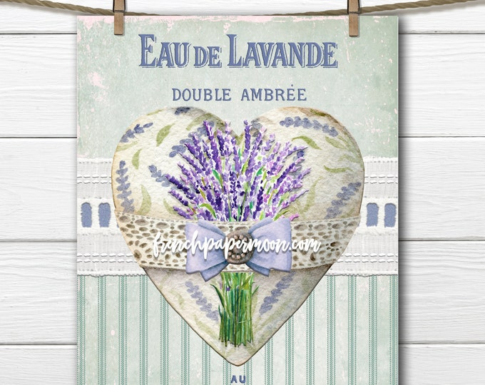 French Lavender Heart, Printable Lavender Graphic, Lavender Pillow Image, Digital Heart Collage Sheet, Transparent, Decoupage, Mothers Day
