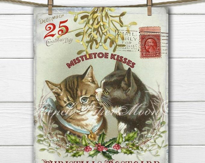 Mistletoe Cats, Vintage Digital Christmas Postcard, Victorian Xmas Cats, Pillow Image, Cardmaking, Instant Download Image Transfer Printable