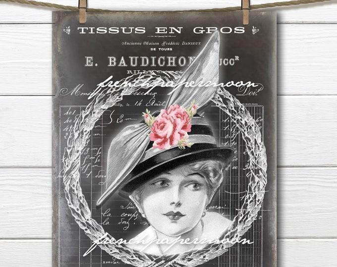 Chalkboard Victorian Lady Digital, Black and White Fashion Lady, Vintage Fashion, French Graphics, Graphic Transfer Image