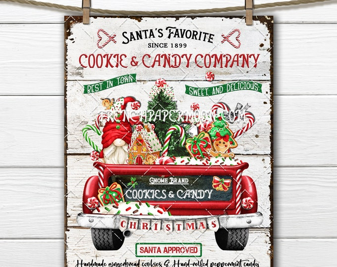 Christmas Gnome, Red Truck, Gingerbread House, Xmas Cookies, Peppermint Candy, Candy Canes, Digital Print, Image Transfer, DIY Xmas Sign