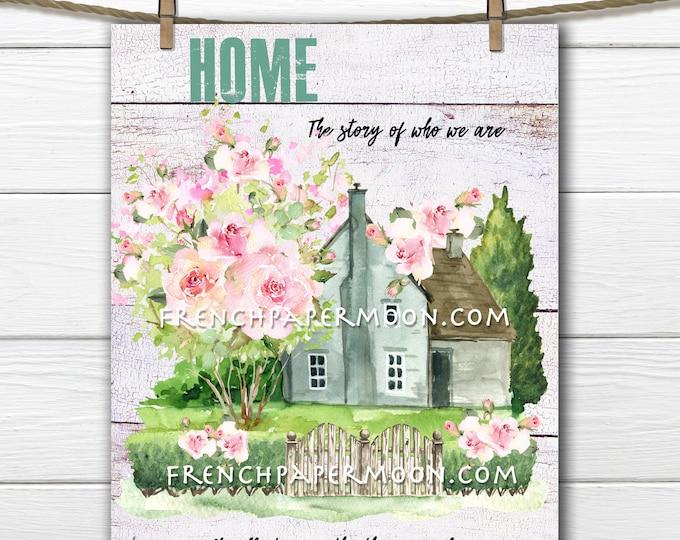 Spring Cottage, Farmhouse, Home, Cottage Garden, DIY Spring Sign, Spring Garden, Pillow Decor, Wreath Attachment, Wood, PNG, Home Decor