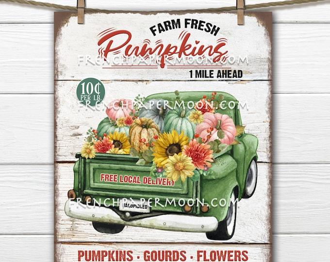 Farmhouse Pumpkin Truck, Harvest Truck, Multicolor, Pickup Truck, Home Decor Sign, Wreath Accent, Digital, Fabric Transfer, Autumn Decor