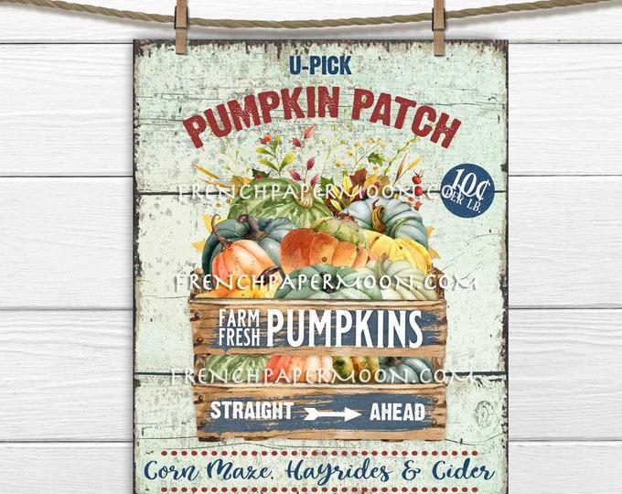 Rustic Pumpkin Patch, Pumpkin Wood Box, Crate, Pumpkin Farm, DIY Pumpkin Sign, Pumpkin Home Decor, Wreath Accent, Digital, Image Transfer
