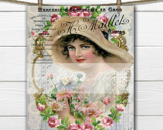 Victorian Lady, French Graphics, Roses, Digital Shabby Lady with Hat, French Pillow Image, Graphic Transfer