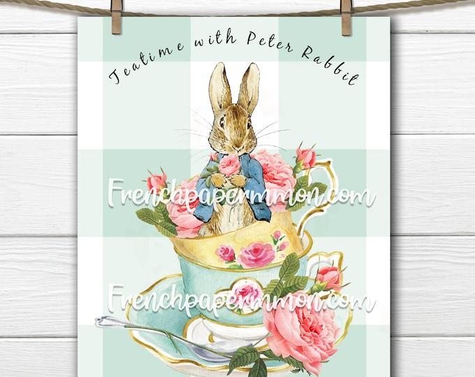 Shabby Peter Rabbit Tea Print, Teatime with Peter Rabbit, Beatrix Potter Digital, Teacups, Roses, Pillow Image, Kids Room Decor, Nursery