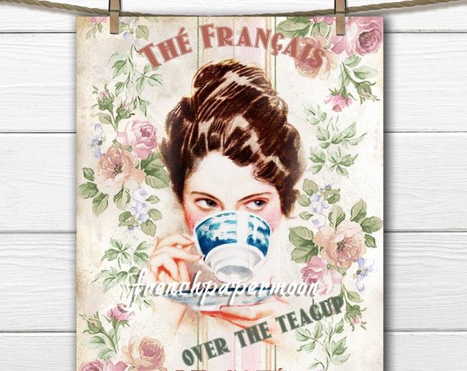Digital Harrison Fisher Over the Teacup, Teatime Graphic, Vintage Tea, French Tea, Large Size Digital Transfer Image