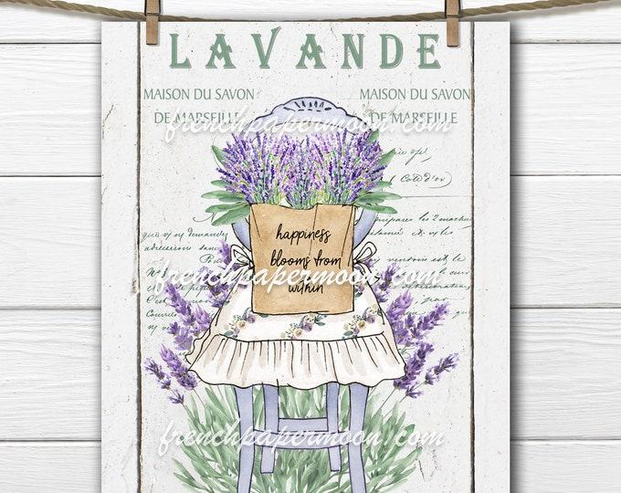 French Lavender, Rustic Chair Printable  Tea Towel  Pillow Image Graphic Transfer, Wood Background Plus Transparent Digital Farmhouse