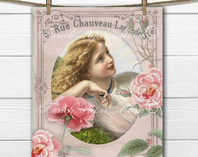 Digital Shabby Victorian Girl with Roses, Victorian Lady Printable, Digital Paper, Vintage Roses, Instant Download French Transfer Image