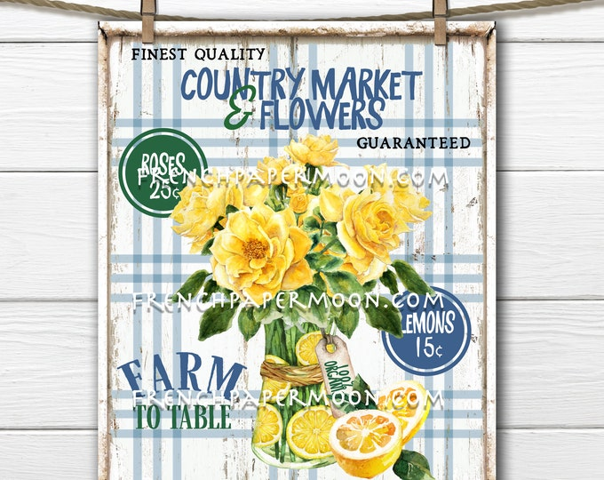 Farmhouse Lemons, Digital, Yellow Roses, Plaid, Farmers Market, DIY Fruit Sign, Tiered Tray Sign, Pillow Image, Wreath Decor, Wood, PNG