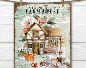 Rustic Farmhouse, Country Cottage, Warm Cozy, Fall Landscape, Fall Florals, Home Decor, DIY Sign, Image Transfer, Wall Decor, Digital Print