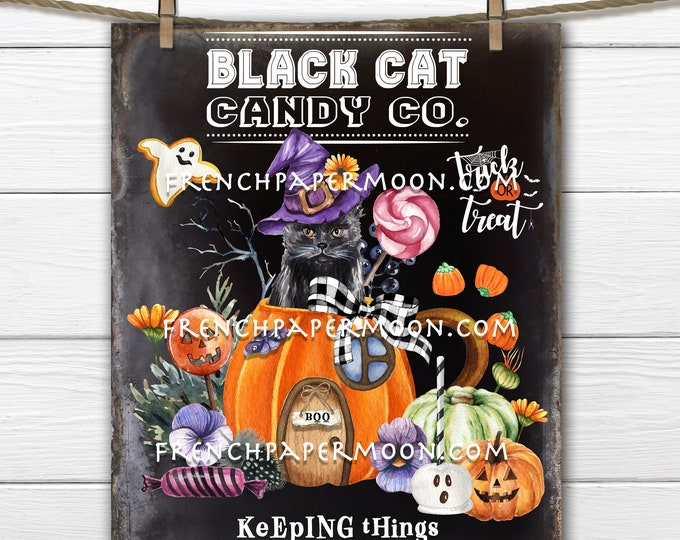 Halloween Black Cat Candy Company, Pumpkin Mug, Halloween Candy, Decor Sign, Halloween Mug, Wreath Accent, Fabric Transfer, Sublimation, PNG