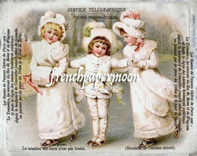 Digital Victorian Children Printable, Ice skating, Vintage postcard Collage sheet, French Pillow, Fabric Transfer