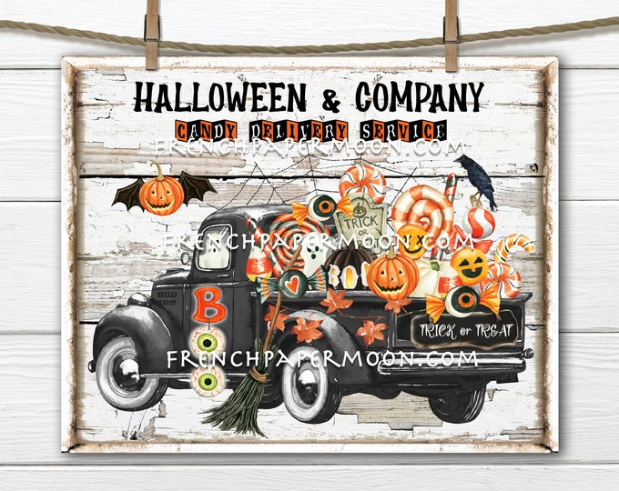 Halloween Truck with Candy, Trick or Treat, Fall, Pickup, Black Retro Truck, Candy Truck, Digital Download