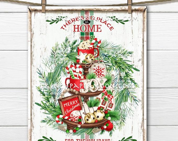 Farmhouse Christmas Decor Sign, Xmas Tiered Tray, Xmas Greenery, Home for the Holidays, DIY Sign, Xmas Wall Decor, Xmas Crafts, Digital, PNG