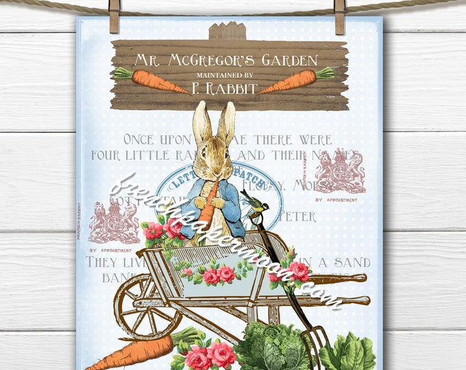 Shabby Beatrix Potter Digital,  Blue Peter Rabbit, Mr McGregors Garden, Carrot Patch, Peter Rabbit Pillow Image, Fabric Transfer, Nursery