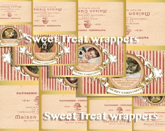 Printable Christmas Treat Bag Toppers, Favor Bag Label, Holiday Gift, Cats, Dogs, DIY Christmas Gift