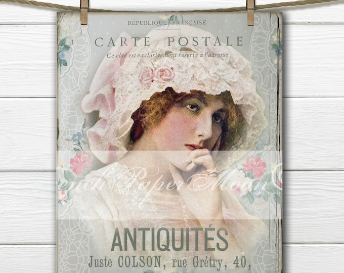 French Victorian Lady, Vintage Lady Printable, French Pillow Graphic Transfer, Instant Download, Shabby Digital Graphic