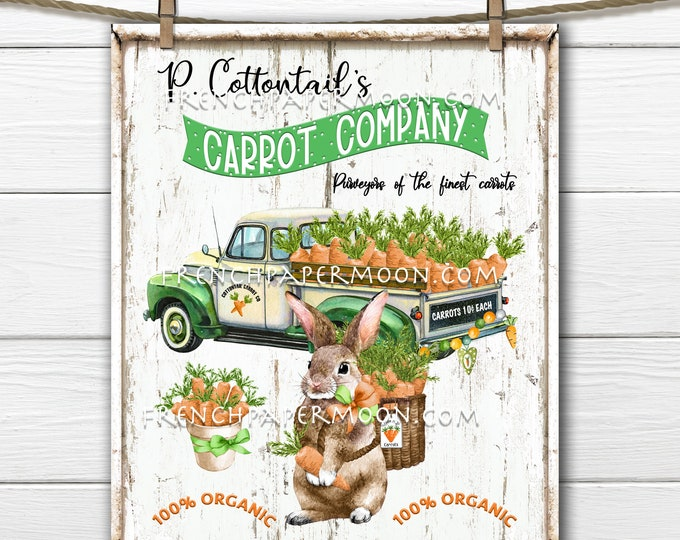 Easter Truck, Carrots, Bunny, Cottontail Carrots, Farm Fresh Carrots, DIY Easter Sign, Wreath Decor, Pillow Image, Tiered Tray, Tea Towel