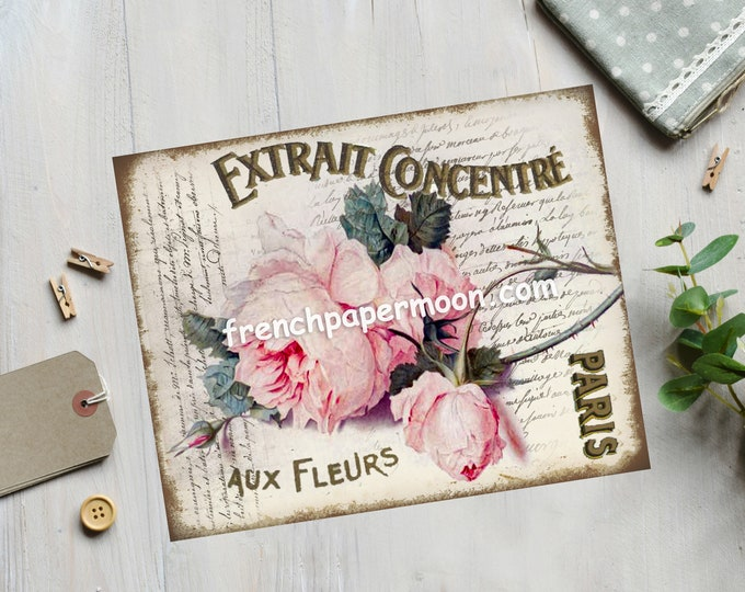 Shabby Victorian Rose Printable French Graphic Single Pink Rose Instant Digital Download Fabric Transfer Image