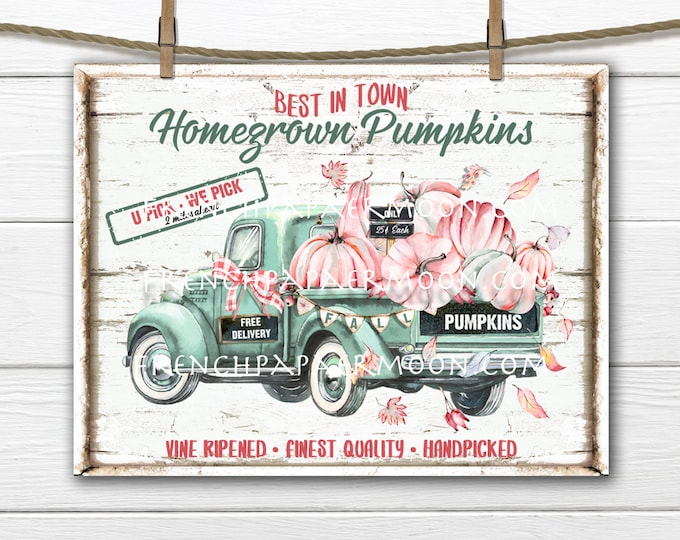 Pumpkin Truck, Harvest Truck, Fall Farmhouse, Pink Pumpkins, DIY Pumpkin Sign,, Image Transfer, Fabric Transfer, Digital, Pillow Image, PNG