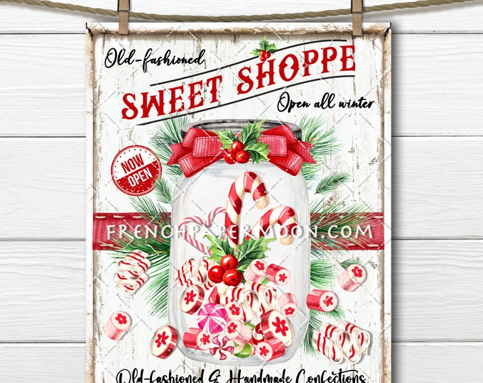 Old Fashioned Christmas candy, Candy Jar, Xmas Mason Jar, Sweet Shoppe, Christmas Sign, Digital Sign, Digital Print, Fabric Transfer, PNG