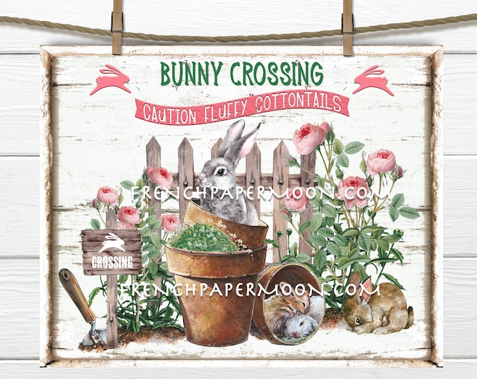 Bunny Crossing, Digital, Bunny Garden, Spring Garden, Roses, Picket Fence, DIY Easter Sign, Wreath Attachment, Easter Pillow Image, Wood,PNG