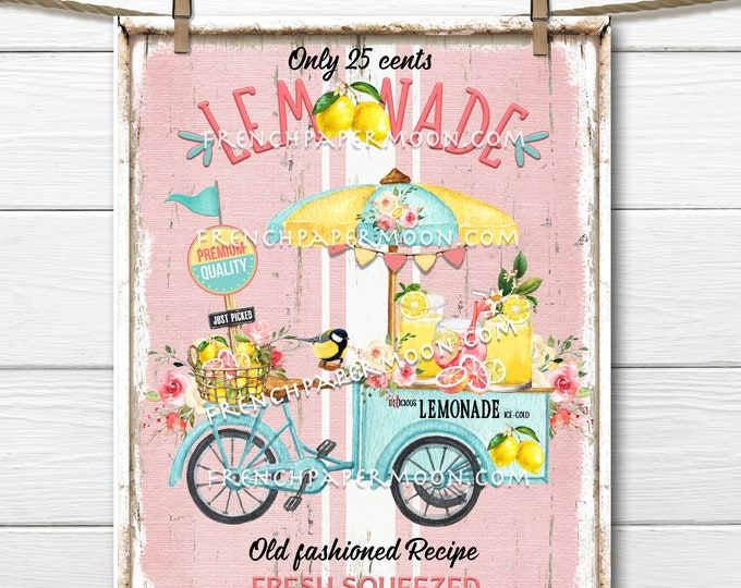 Lemonade Stand, Lemonade Wreath Accent Decor Sign, Tiered Tray Lemonade Sign, Summer Drinks, Bike, Wall Art, Digital Print, Image Transfer