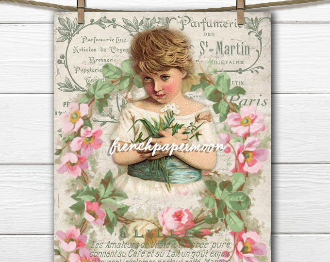 Shabby Victorian Girl printable with flowers, Floral wreath, Vintage Girl, Spring, Springtime Printable, Instant download French