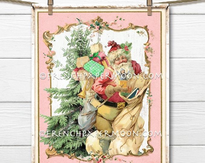 Shabby Pink Santa Digital, Victorian Santa, Wall Decor, Christmas Card Toppers, Vintage Holiday Print, DIY Christmas Sign, Pillow Image