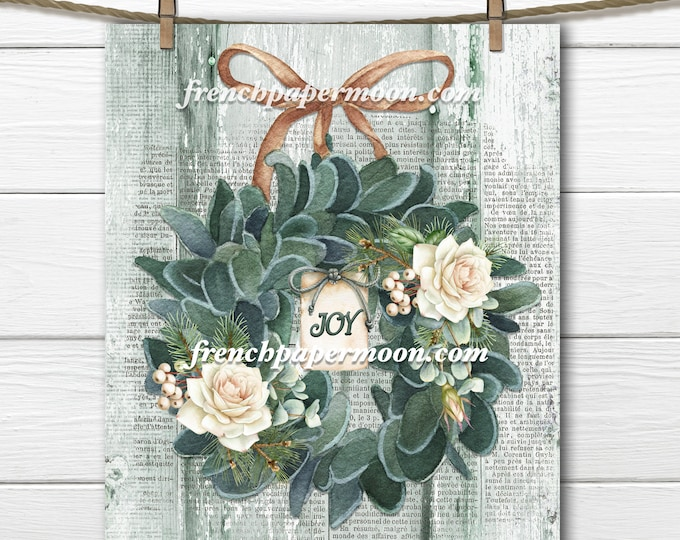 Shabby Christmas, Watercolor Lambs Ear, Rose Wreath, Old-fashioned Xmas Print, DIY Xmas  Crafts, Large Image, Fabric Transfer, Transparent