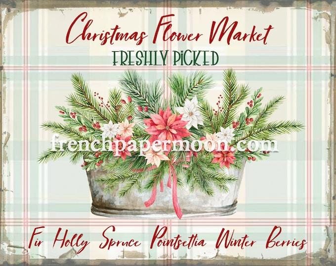 Shabby Christmas Flower Market, Digital Sign, Xmas Floral Graphic, Xmas Bouquet, Pillow Image, DIY Xmas Sign, Printable Xmas, Transparent