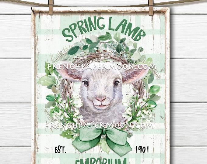 Spring Lamb, Digital, Easter Lamb, Spring Wreath, Snowdrops, Plaid, Wood, PNG, DIY Lamb Sign, Fabric Transfer, Wreath Attachment, Farmhouse