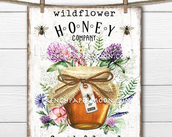 Farmhouse Honey, Honey Jar, Wildflower, Vintage Bees, Rustic Honey Sign, Digital, Pillow Image, Home Decor, DIY Honey Sign, Wood, PNG