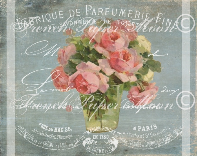 French Digital Roses, Shabby Roses, French Parfumerie Collage, French Graphic Transfer, Printable Pillow Image, Instant Download