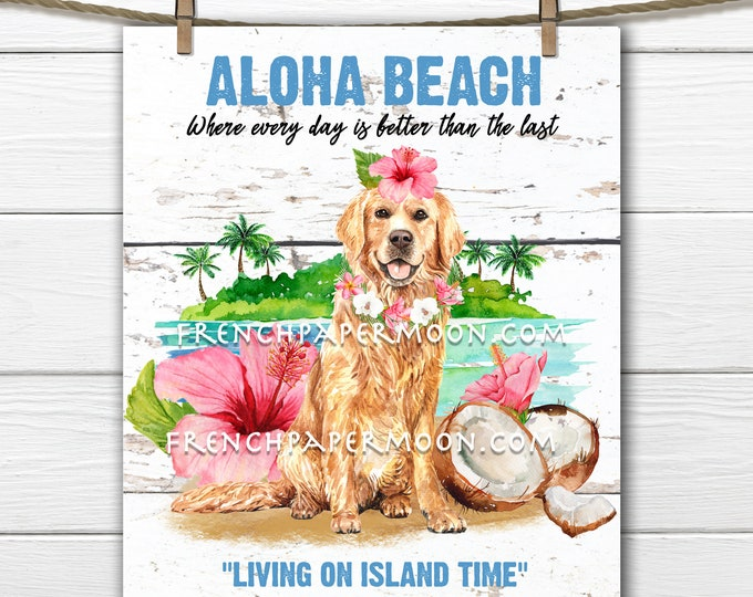 Tropical Beach, Digital, Aloha, Nautical, Hibiscus, Rustic Beach,, Summer Dog, DIY Beach Sign, Tiered Tray Decor, Pillow Image, PNG, Wood