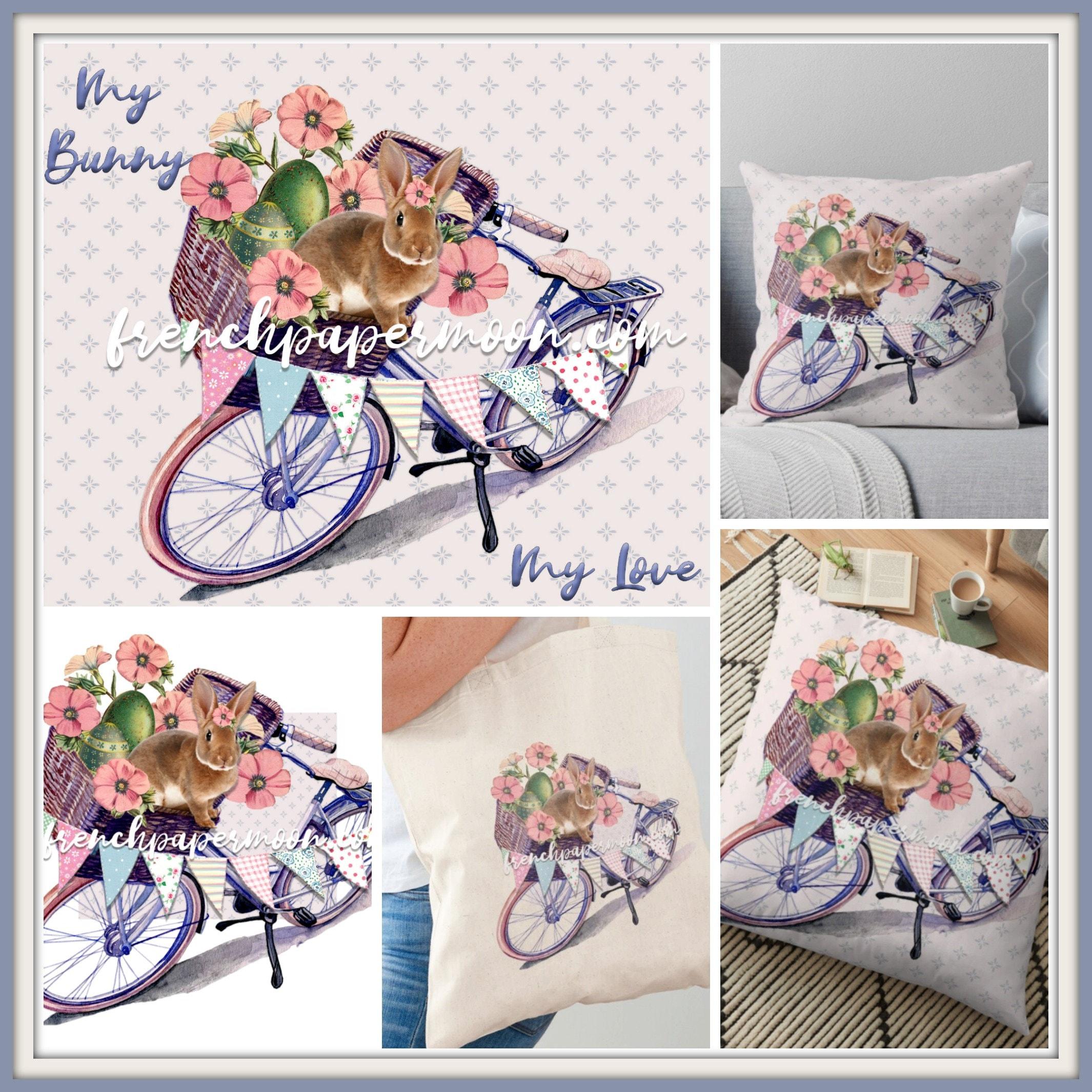 Shabby Bunny Bike Print Easter Rabbit Spring Bunny Vintage Flowers Bicycle Basket Easter Pillow Image Sublimation Crafts Transparent