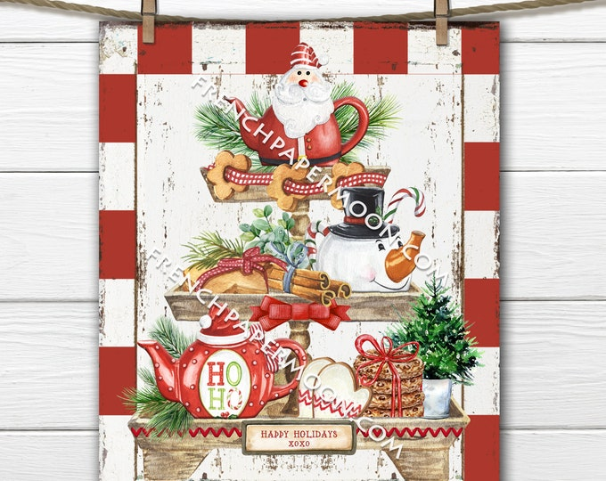 Rustic Christmas Tiered Tray Digital, Festive Christmas, DIY Xmas Sign, Teapots, Pillow Image, Fabric Transfer, Wood, PNG, Wreath Attachment