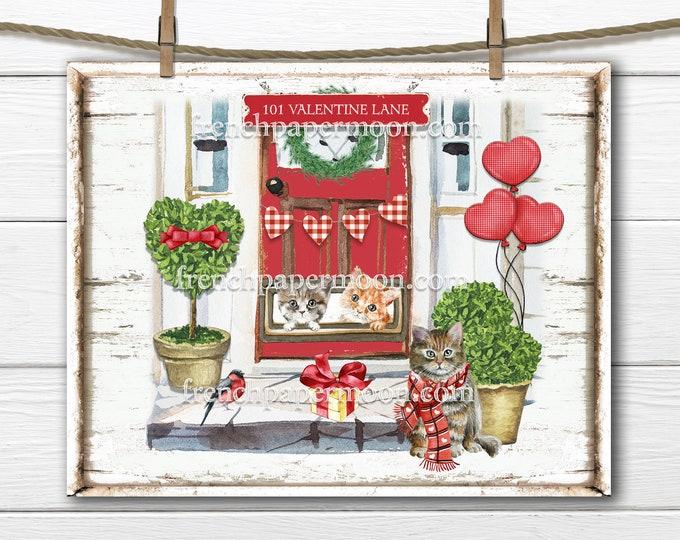 Valentine Cats, Kittens, DIY Valentine Sign, Mailbox Kittens, Front Door, Wreath Decor, Love Pillow Image, Cat Lover, Valentine's Day Print