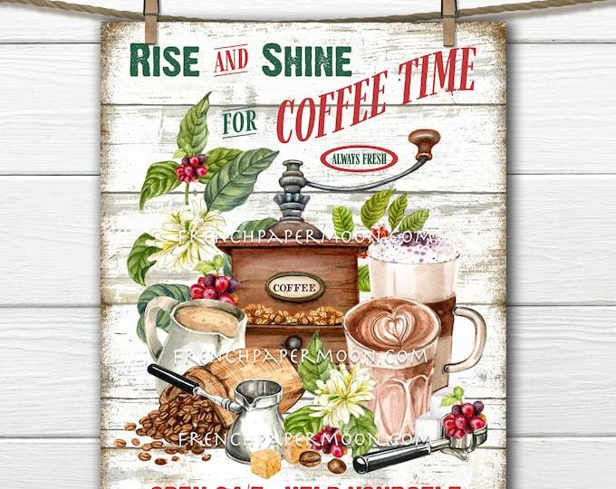 Farmhouse Coffee, Digital, Kitchen Print, Rise and Shine, Fresh Coffee, Image Transfer, Fabric Transfer, DIY Coffee Sign, Tiered Tray Decor