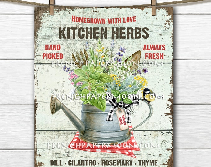 Farmhouse Kitchen Herbs, Farmhouse Wreath Accent Decor Sign, Tiered Tray Herb Sign, Kitchen Herb Wall Art, Digital Print, Image Transfer