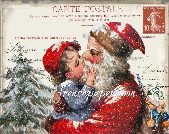 Vintage Santa, Old Fashioned Christmas, Traditional Xmas, Carte Postale, Printable, Pillow Image, Card-making, Xmas Decor, Santa Kisses