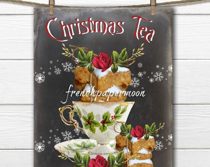 Chalkboard Christmas Tea Digital Download, Christmas Teacup, Gingerbread Cookies, Christmas Pillows, Crafts, Xmas Sign Printable
