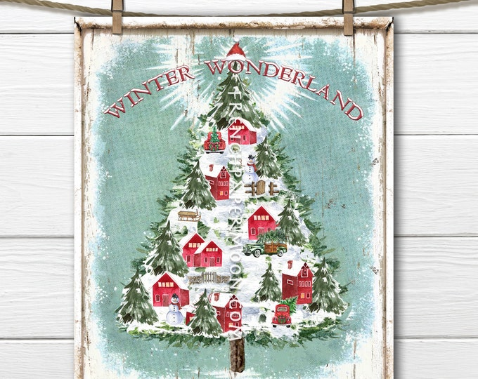 Winter Wonderland Christmas Digital, Christmas Village, Christmas Tree, DIY Christmas Sign, Wall Decor, Xmas Pillow, Wreath DecorTransparent