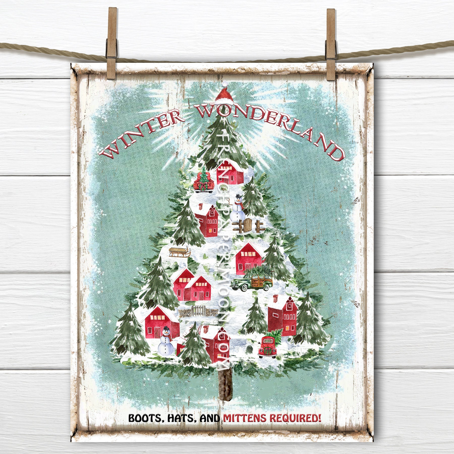 Winter Wonderland Christmas Digital Christmas Village Christmas Tree Diy Christmas Sign Wall Decor Xmas Pillow Wreath Decortransparent