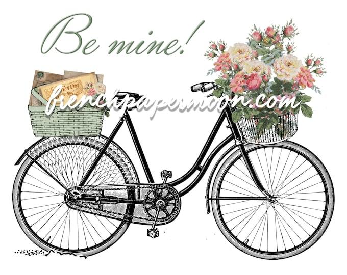 Digital Shabby Chic Valentine Bike, Vintage Flowers, Love Letter, Valentine Pillow, Crafts, Large Size, Graphic Transfer